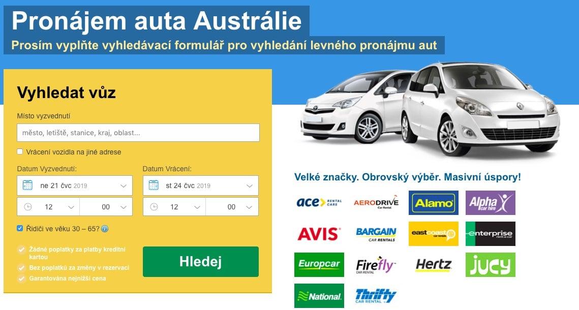 pronájem auta v austrálii